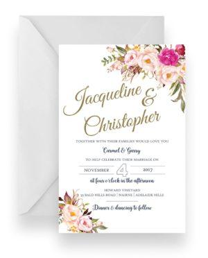 001 Soft Pink Floral Bouquet Wedding Invitation WEB