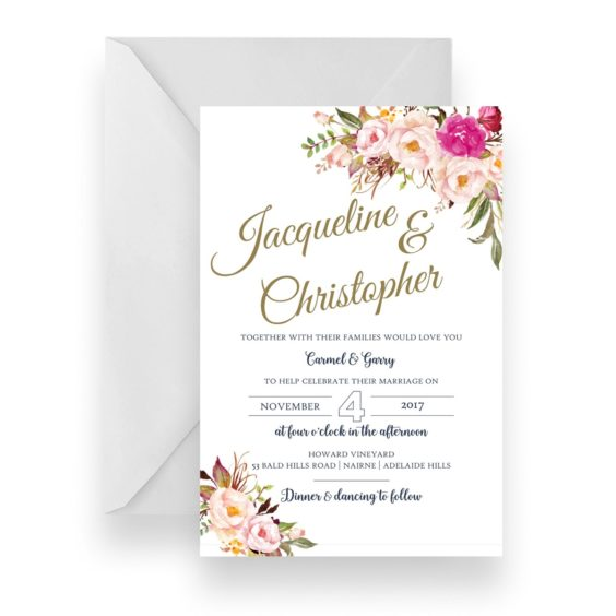 001 Soft Pink Floral Bouquet Wedding Invitation WEB