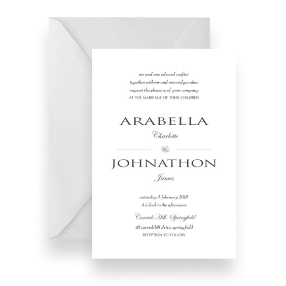 002 Modern Minimalist Black and White Wedding Invitation WEB