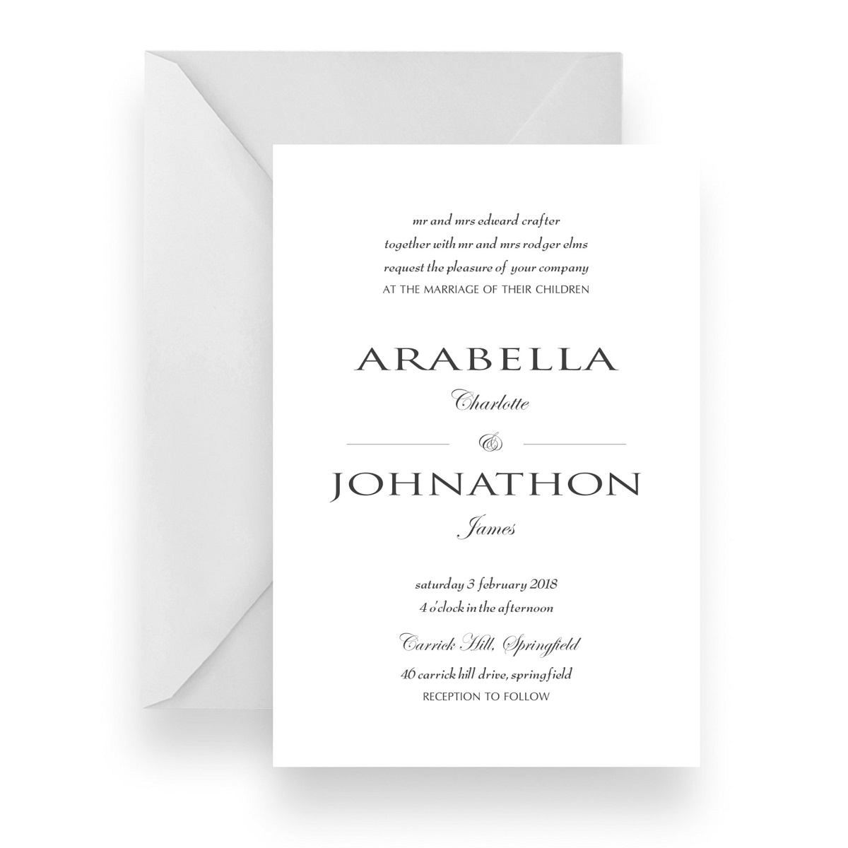 002 Modern Minimalist Black and White Wedding Invitation WEB