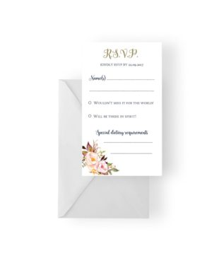 005 Soft Pink Floral Bouquet RSVP Card WEB
