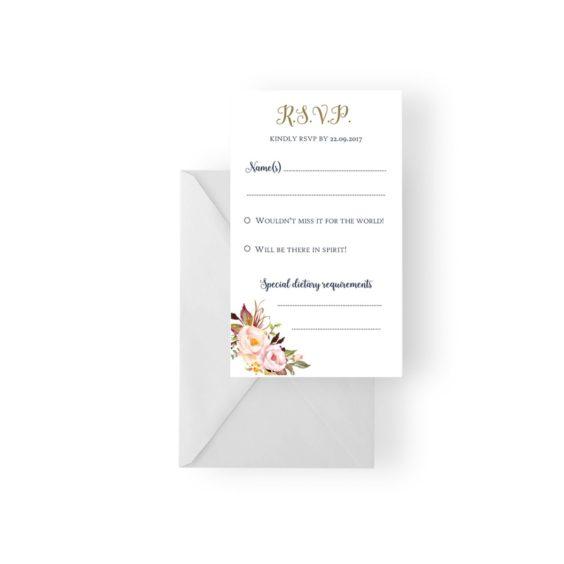 005 Soft Pink Floral Bouquet RSVP Card WEB