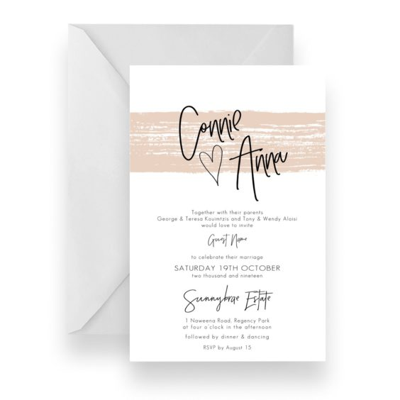 006 Nude Watercolour Brush Modern Wedding Invitation WEB