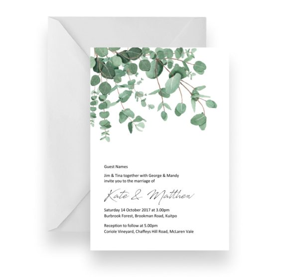 010 Native Contemporary Blue Gum Leaves Wedding Invitation WEB