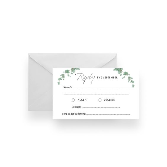 011 Native Contemporary Blue Gum Leaves RSVP Card WEB