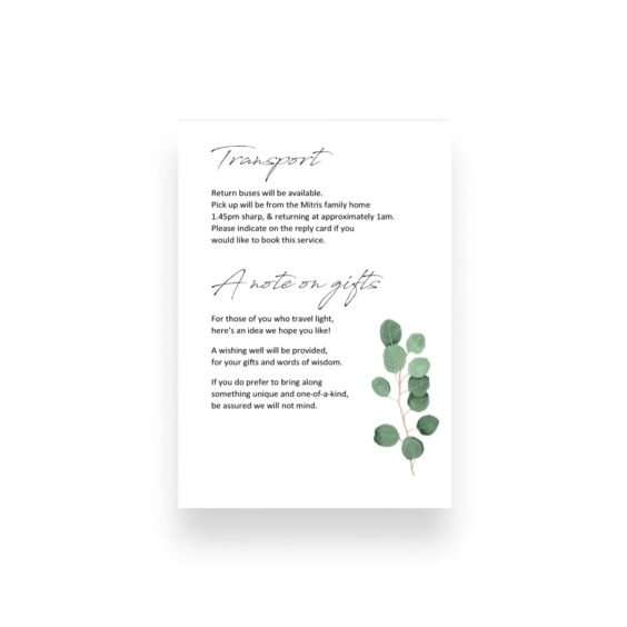 012 Native Contemporary Blue Gum Leaves Wishing Well Deatils Card WEB