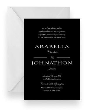 098 Modern Minimalist Black Wedding Invitation WEB
