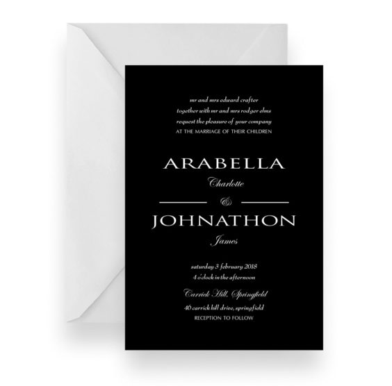 098 Modern Minimalist Black Wedding Invitation WEB