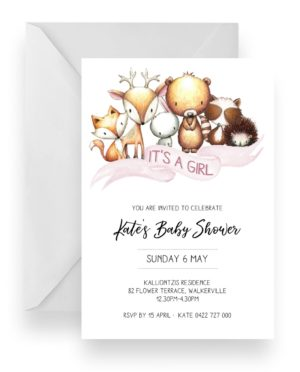 119 Woodland Baby Animal Baby Shower Girl Invitation WEB