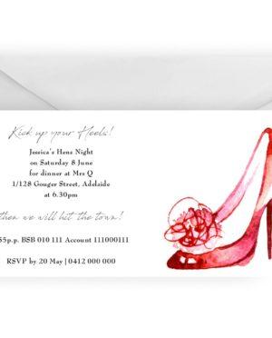 Hens night glam shoe invitation