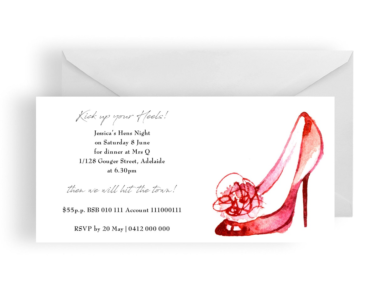 Hens night glam shoe invitation