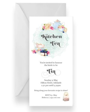 Vintage High Tea Kitchen Tea Pot Invitation