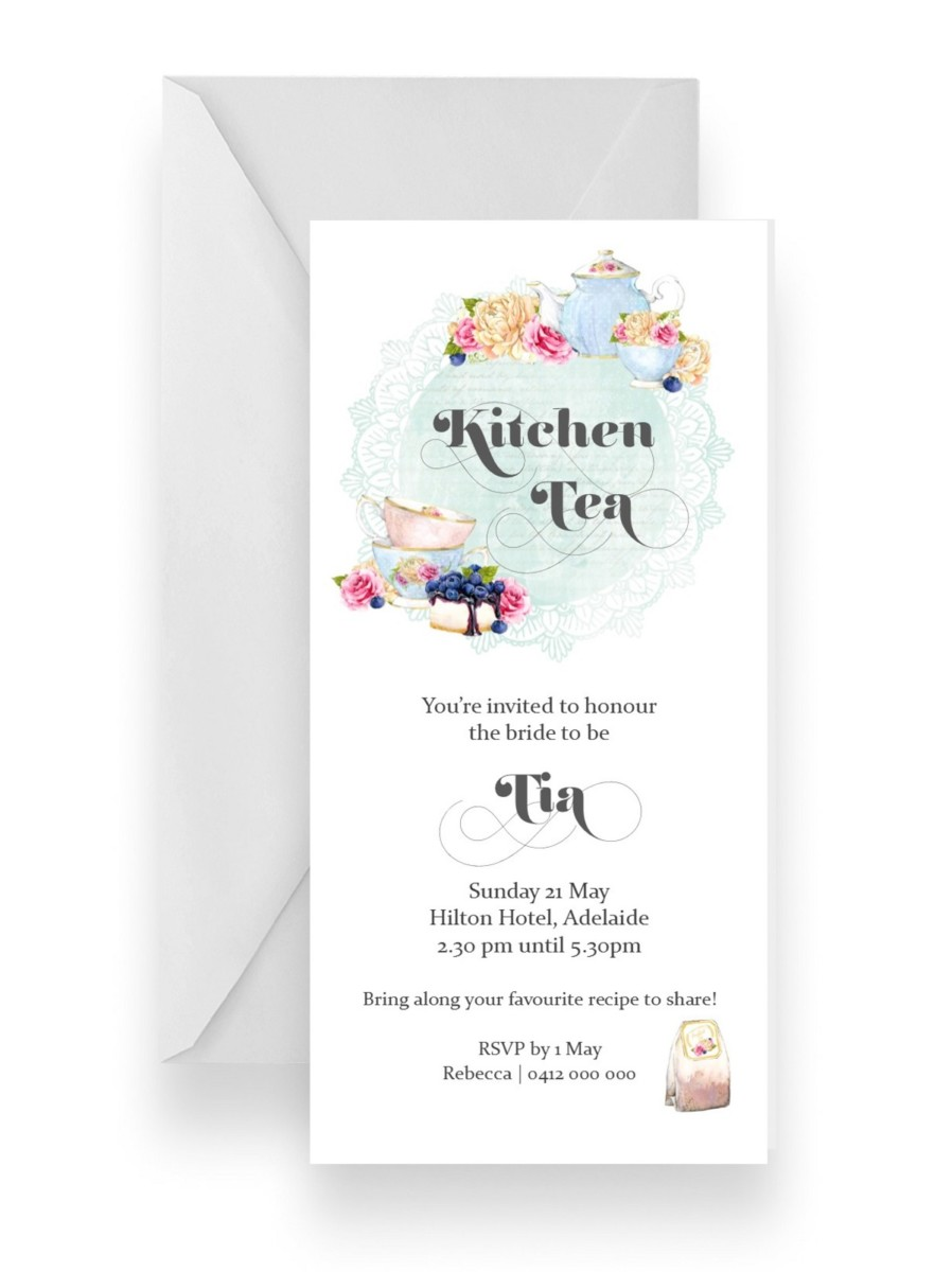 115 Vintage High Tea Kitchen Tea Pot InvitationWEB