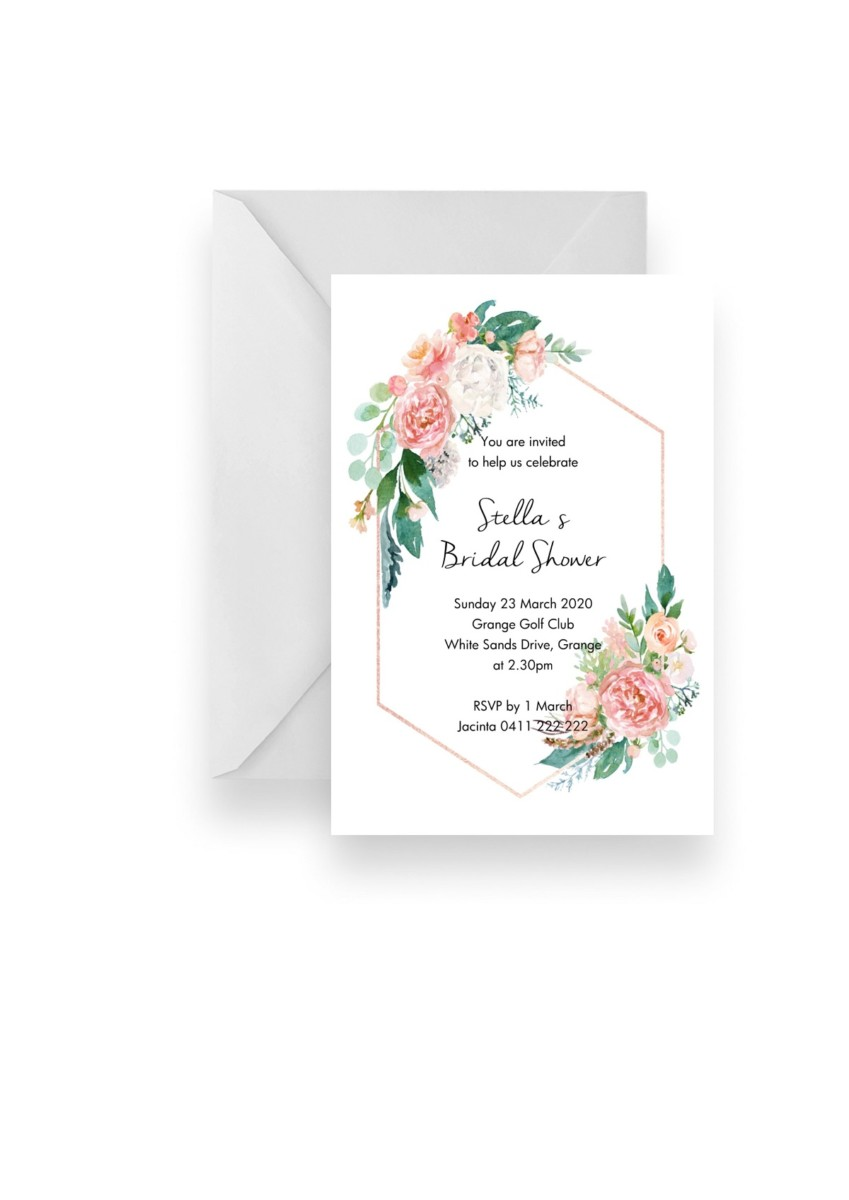 117 Soft Pink Rose Gold Floral Diamond Invitation WEB