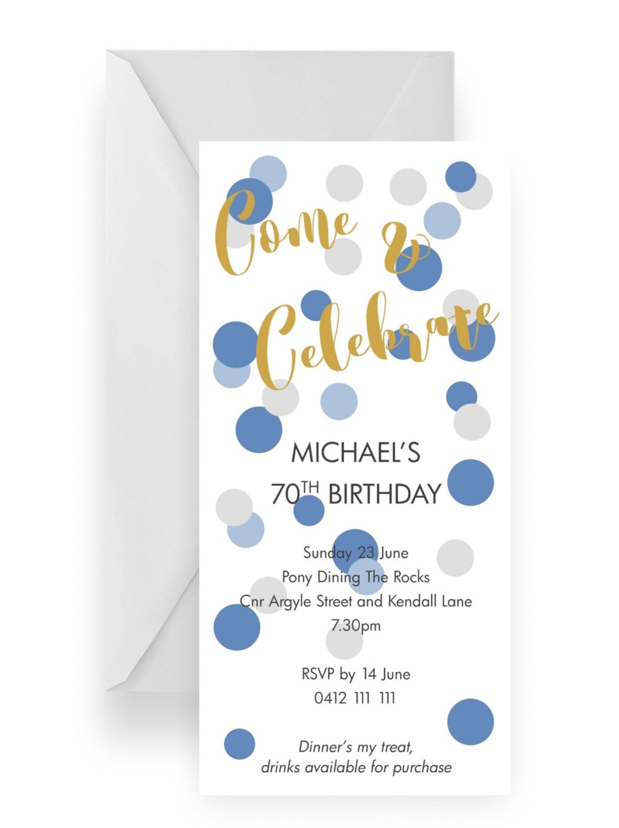 118 Modern Fun Mens Blue Polka Dot Invitation 70th WEB