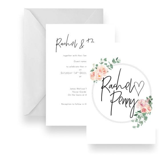 121 Modern Script Soft Pink Floral native wedding invitation WEB