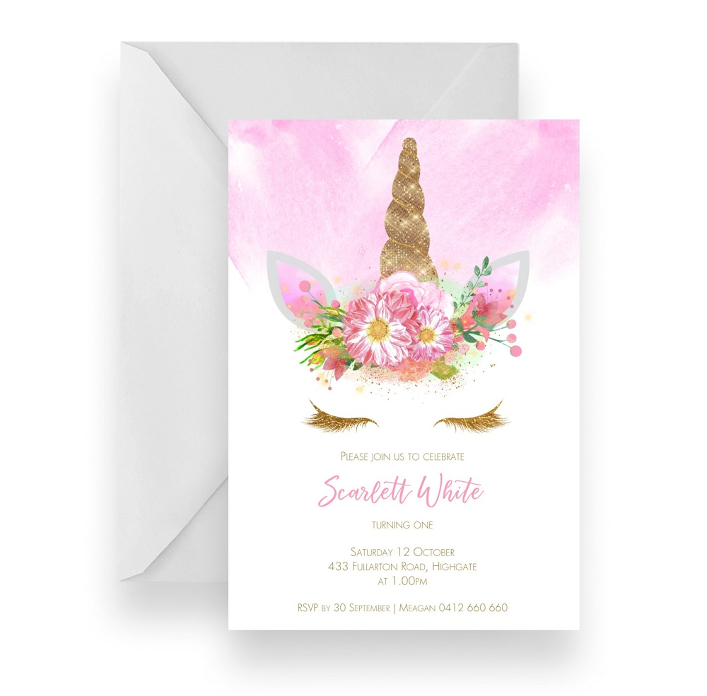 141 Glamour Glitter Pink Unicorn Invitation WEB