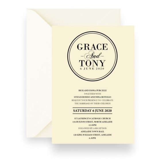 152 Sleek Modern Monogram Wedding Invitation Cream WEB
