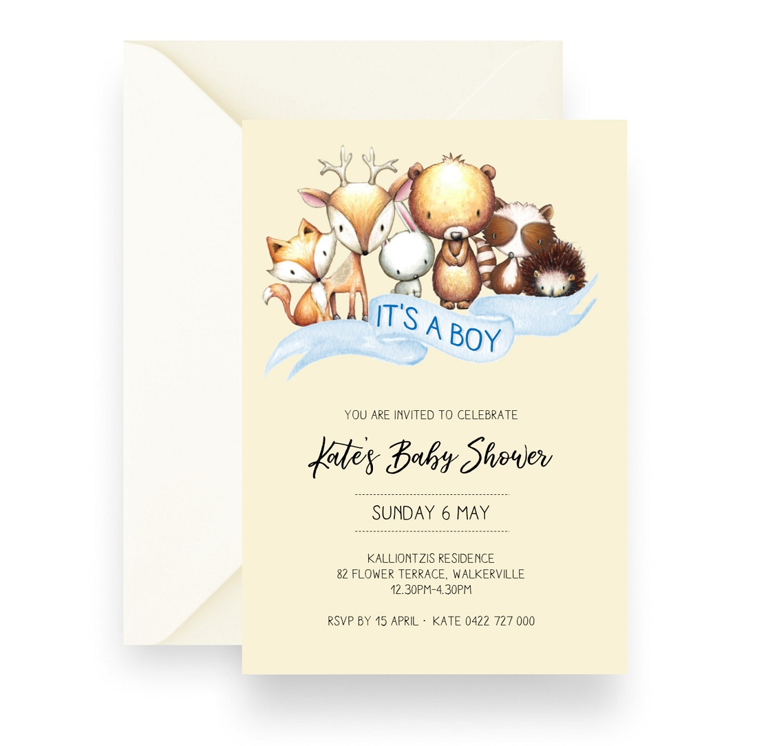 155 Woodland Baby Animal Baby Shower Invitation Boy Cream WEB