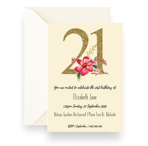 156 Elizabeth Jane Glitter Floral 21 Birthday Invitation Cream WEB