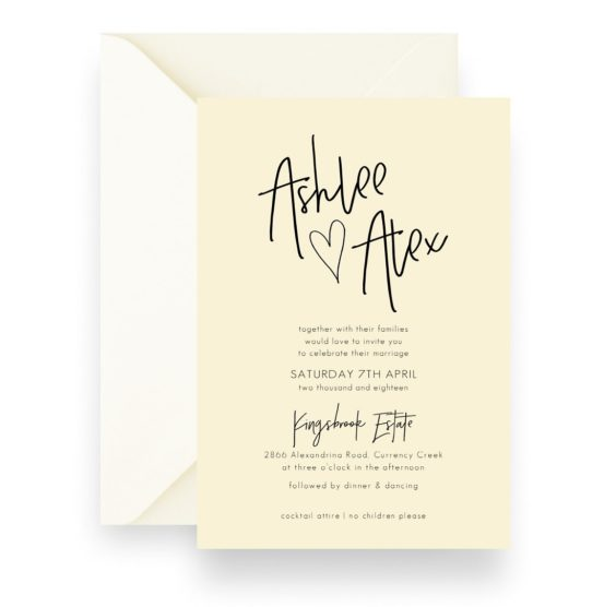 167 Minimalist Love Heart CREAM Modern Style Wedding Invitation WEB