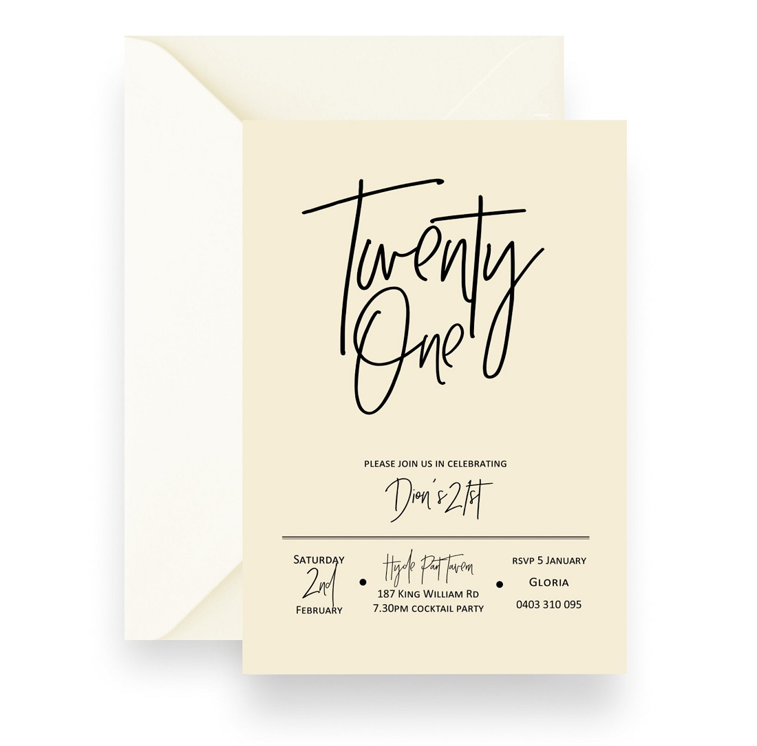 172 Simple Modern Gender Neutral Birthday Invitation CREAM WEB