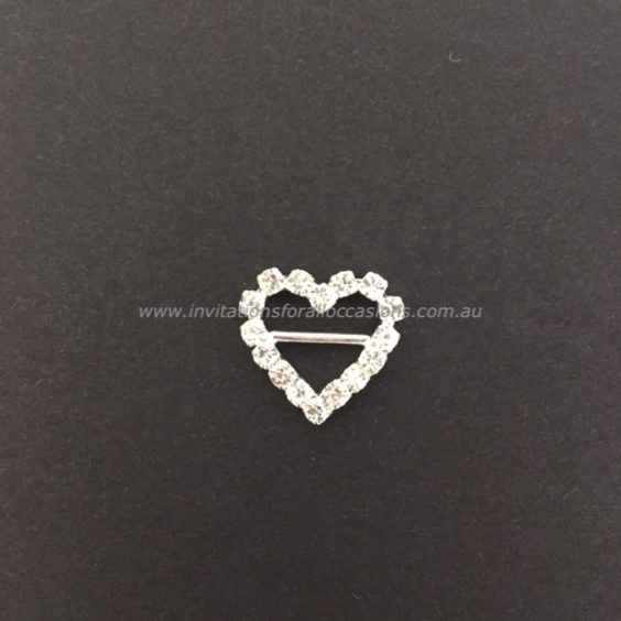 DIY-065 Embelishment Bling Heart Diamante Buckle VERT