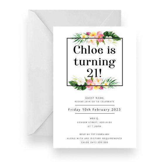 224 Tropical Flower Birthday Invitation