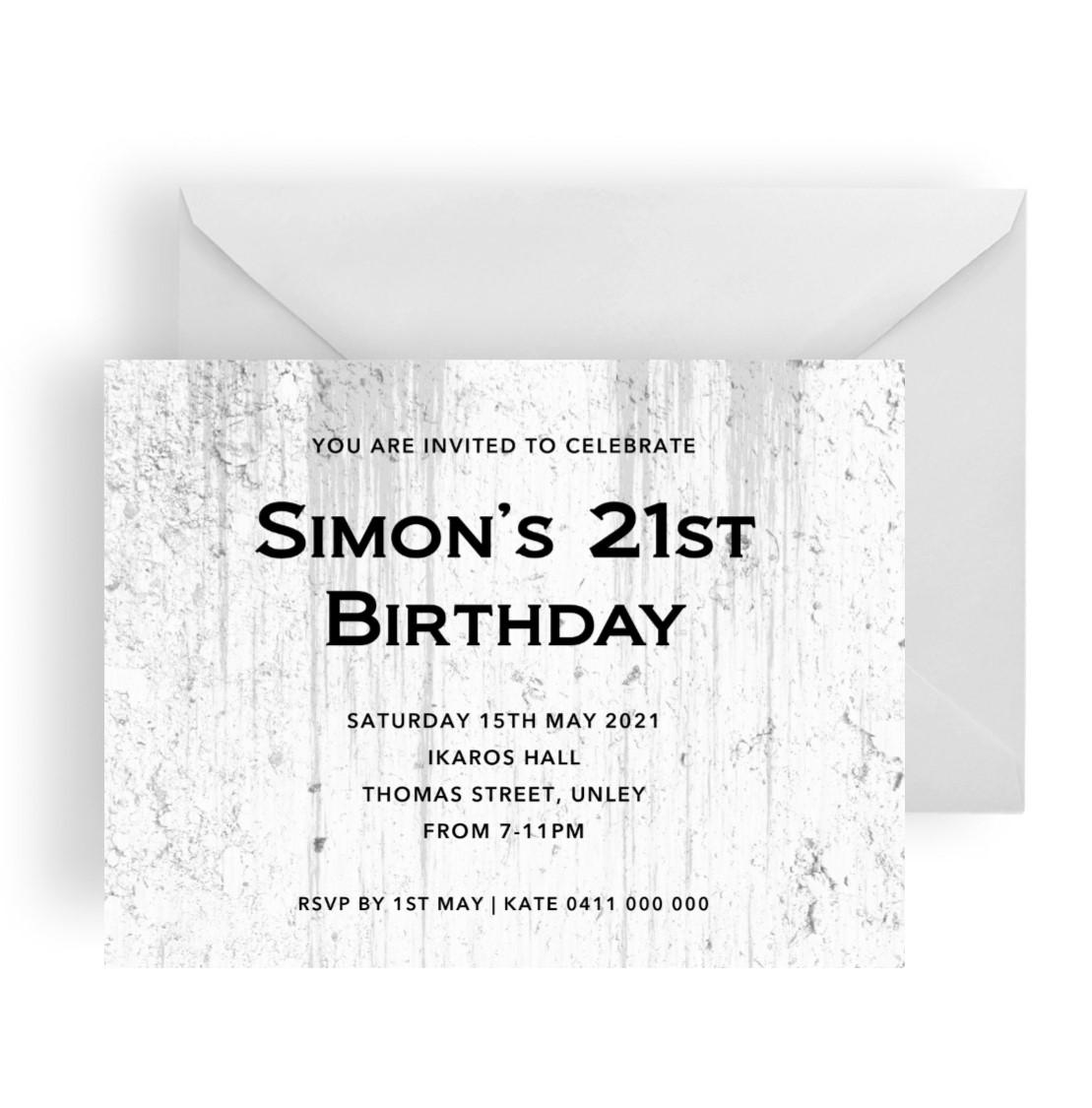 227 Grunge Birthday Invitation