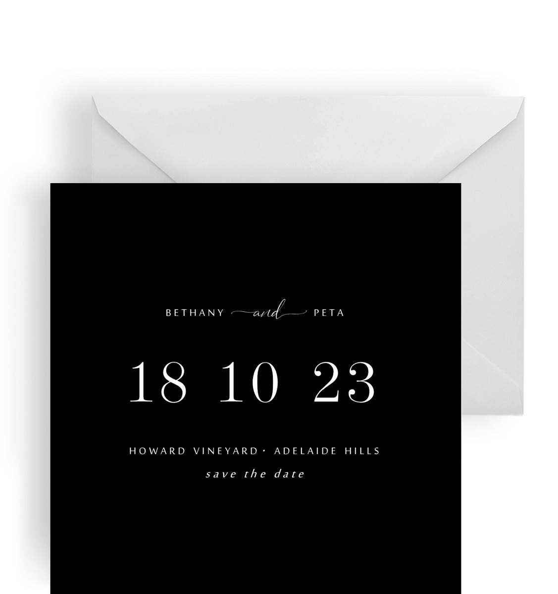 232 Square Save the Date – Black